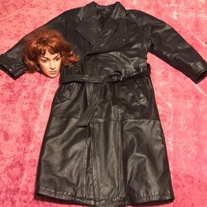 Vintage Gothic Trench Leather Coat